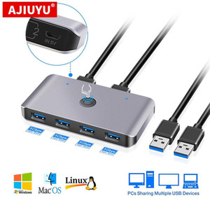 AJIUYU USB KVM Switch Box USB 3.0 2.0 Switcher 2 Port PCs Sharing 4 Devices for Keyboard Mouse Printer Monitor with 2 Cables