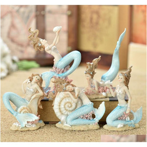 creative resin cute mermaid princess figurine vase fish tank ornament decor art home furnishing decoration crafts birthday gift iUFGh