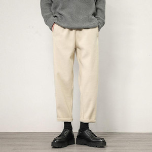 2020 Winter Men's Fashion Trend Heavy Woolen Pants Keep Warm Casual Pants Thickening Drawstring Solid Color Trousers Size M-3XL