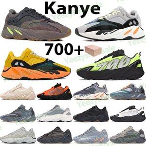 700 Kanye homens reflexivos tênis fósforo cinza da cerceta de carbono azul treinadores desportivos mulheres negras triplos laranja osso sol sólidas com caixa