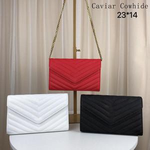 Bolsos de diseño suavizar piel de oveja de cuero de vaca caviar caviar cadena de metal plateado oro del bolso del diseñador del cuero auténtico bolsos de hombro de lujo