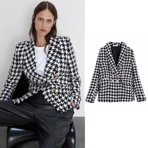 houndstooth Women Clothing blazers Long Sleeve Turn-down Collar Coat Female 2020 Lady Business Jacket Suit Coat Top Outerwear
