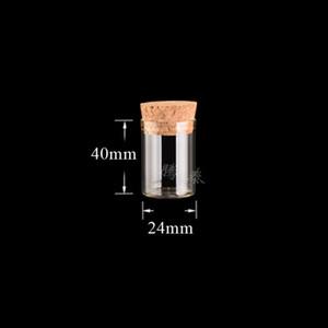 10 ml Tubo de ensayo pequeño con tapón de corcho Botellas de especias de vidrio Tarjetas de contenedor 24 * 40mm DIY Craft Transparente Botella de vidrio recta HH 20 N2