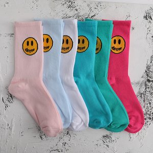 Drew Justin Bieber's same five color smiley face hip hop mid sleeve sports versatile Street socks