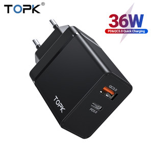 TOPK 36W Quick Charge 3.0 USB Charger PD USB C Charger Fast Charger US UK EU Plug Adapter for iPhone 11 Xiaomi Samsung FY7471