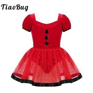 TiaoBug Kids Puff Sleeves Sequins Red Mesh Tutu Ballet Figure Skating Dress Gymnastics Leotard for Girls Christmas Dance Costume
