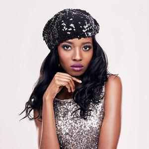 Étincelle Fun Mode féminine Paillettes Shimmer stretch Beret Bonnet