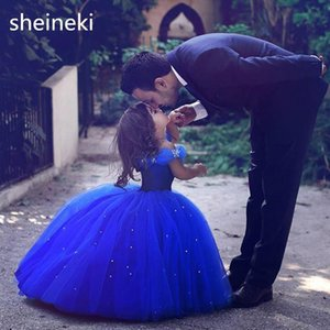 Cinderella Cute Royal Blue Off Shoulder Ball Gown Girls Pageant Dresses Tulle Toddler Birthday Party Flower Girl Dresses