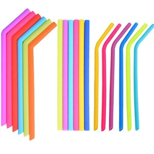 Pailles en silicone 24 Styles Food Grade Dold Boissons Recyclage Silicone Cocktail Pailles Candy Couleur Straw Fournitures Straight Curve FWD2660