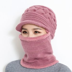 BINGYUANHAOXUAN 2018 New Winter Knitted Hat Women Balaclava Mask Warm Thick Skullies Beanies Female Outdoor Ski Cap D18110601