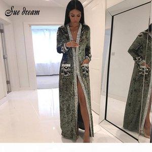 2017 New Women Fashion COAT Gray Brown black Long Sleeve Beading Long Style Coat Women Long Duster Coat Fashion Jacket vestidos D1892904