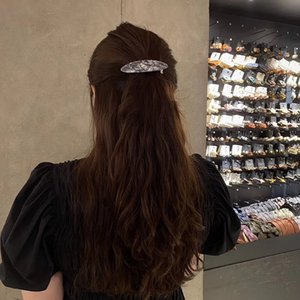 Korean Retro Ellipse Spring Barrettes For Girls Scrunchies Ponytail Hair Clips Geometric Acetic Acid White Ornaments Accessories Wholesale