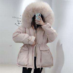 Janveny Women's Down Jacket Female Thicken Warm Winter Down Coat Women Large Real Fox Fur Hooded 90% White Duck Down Parkas 201019