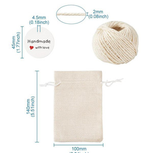 1set Burlap Packing Pouches Drawstring Bags With Jewelry Display Kraft Paper Price Tags And Hemp Cord Twine String For jllBlh