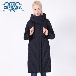 2020 New Winter Coat Женщины Плюс Размер Длинные ветрозащитный воротник женщин Parka Стильный капюшоном Толстые Женские куртки CEPRASK