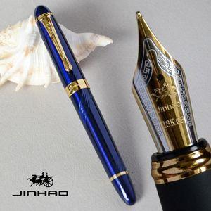 قلم حبر 18KGP 0.7MM BROAD NIB JINHAO X450 DEEP الأزرق والذهبي LUXURY PURPLE WHITE RED 21 الألوان للاختيار JINHAO 450
