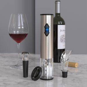custom technology stainless steel 4 in 1 red wine electric bottle opener set wine gift box set