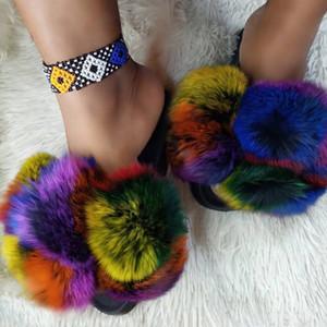 Moda Mix Renk Kış Kürklü Kürk Terlik Kadınlar Plus Size Güzel Peluş Düz Slaytlar Kadın Fox Kürk Yumuşak Ev Ayakkabı 43