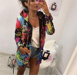 Tie Dye Coat Womens Long Sleeve Hooded Hoodies Sweatshirt Parka Jacket Coat Outwear Overcoat Drop Shipping
