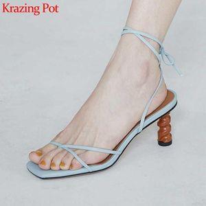 Krazing pot 2020 summer natural leather peep toe flip-flop strange high heel cross-tied butterfly-knot lace up sandals women L46