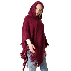 Autumn and winter new knitted hooded cape monochrome Pullover cape knitwear hooded shawl shawls scarf bandanas scarves LY128