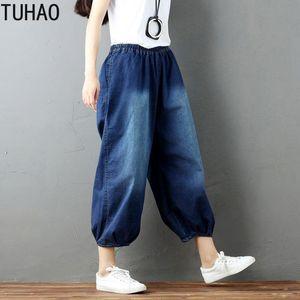 TUHAO Spring Summer Loose Casual Jeans Elastic Waist Bloom Pants Retro Cotton Blue Jeans Wide Leg Capris Women LLJ