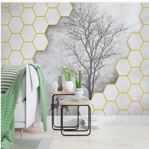 Modern classic painting wallpaper minimalist geometric three-dimensional big tree wallpapers living style wallpaper