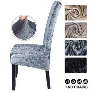 Shiny Velvet XL Size Spandex Chair Cover Stretch Slipcovers Elastic Seat Chair Covers Dining Room Cover With Back