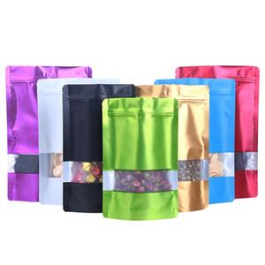 Aluminiumfolie Ziplock Tasche Bunte Fenster wiederverschließbare Süßigkeiten Plastiktasche Retail Taschen 11 Größen 7 Farben Optionen