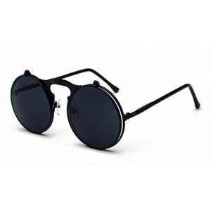 Vintage rotonda Mens flip up occhiali da sole delle donne degli uomini retro stile punk Eyewear Steampunk telaio in metallo maschio UV400 Black Sun Glasses