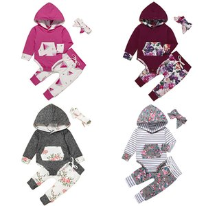 kids clothes girls Flowers outfits infant Hooded Tops+Floral pants+Headband 3pcs sets Spring Autumn fashion baby Clothing Sets Z1799