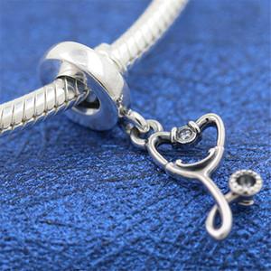 2020 Новый 925 Sterling Silver Стетоскоп Сердце мотаться Шарм бисера Подходит Европейский Pandora ювелирных изделий Браслеты Ожерелья