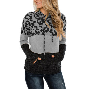 Long Sleeve Leopard Hoodies Tops shirt Women pullover Hoodie loose Drawstring Sweatshirt With Pocket women clothes will and sandy new