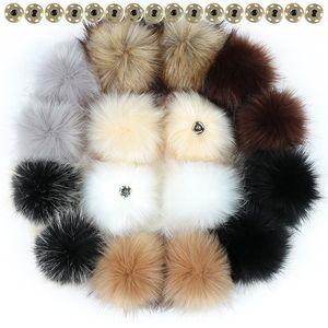 10 12 15cm False Hairball Hat Pom DIY Ball Wholesale Cap Accessories Multicolor Faux Fox Fur PomPom With Buckle