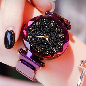 Moda ponteiros luminosos Starry Sky Relógios Mulheres roxo Magnetic Magnet Buckle Quartz Relógios de pulso preço barato Dropshipping 2020