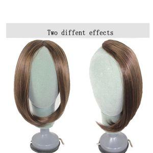 Buqi Long Girls Side Clip Synthetic Clip Synthetic dans les extensions de cheveux Blonde Résistant à la chaleur fausse frange