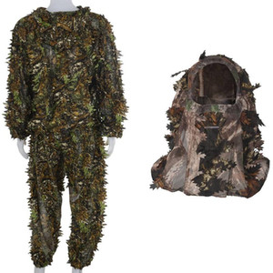 3D Leaf Adults Ghillie Suit Woodland Camo with Camouflage Face Mask 3D Leaf Stereo Turkey Hunting Mask
