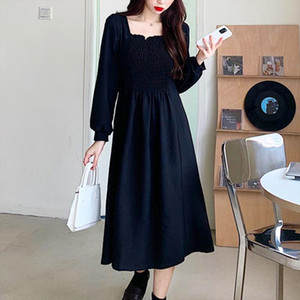 French Elegant Full Sleeve Long Dress Black Square Collar Women Gothic Fairy Dress 2021 Wedding Party One piece Autumn Clothes