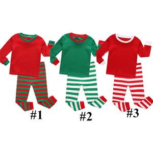 Pyjamas d'enfants Survêtement Noël Ensembles enfants deux pièces Tenues filles de garçon rayé ras du cou à manches longues Vêtements bébé Costume Blazers E92801