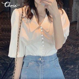 Celmia Office Lady Solid Blouse Women Fashion Half Puff Sleeve Casual Shirt Summer Work Tunic Tos Plus Size Blusas Femininas 7