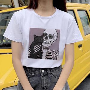 Horro Skull and Cute Cat Femal Tshirt Cartoon Top Tees kawaii T Shirt Women Harajuku Short Sleeve Fun Ulzzang T Shirt