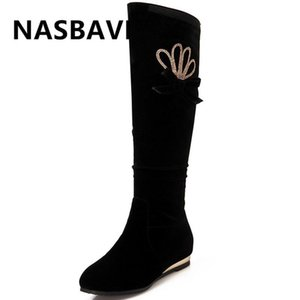 New Winter height Increasing Boots Women Shoes Woman Knee-high Boots 2020 Winter fine Rhinestone Decoration Wild Thick