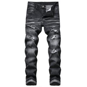 Новые мужские джинсы денима черный разорвал отверстие горячей продажи длинные высокое качество бренда мужской джинсовой брюки брюки длиной челнока