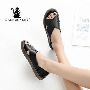 Malémonkey 023043 Dame Sandales antidérapantes 2020 Nouvelle femelle Sandalias Summer Sandalias Mujer Sapato Feminino Chaussures plates Sandales occasionnelles Femmes1
