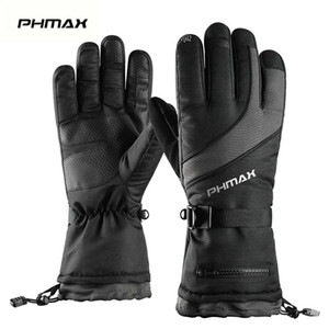 PHMAX Winter Ski Gloves Men Women Thermal Fleece Snowboard Gloves Touchscreen Waterproof Warm Gloves For Skiing Skating Riding 201019