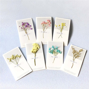 Dried Flowers Card Best Wishes Folding Type Greeting Cards Christmas Birthday Party Wedding Invitations Card 20pcs