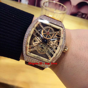Collection Vanguard Automatic Mens Watch V 45 S6 SQT Rose Gold Diamond Case Diamond Skeleton Dial Leather&Rubber Strap Gents Sport Watches