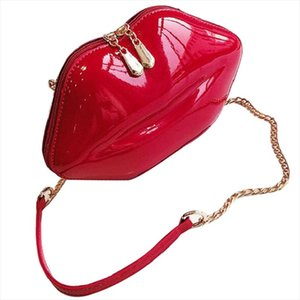 Women Red Lips Clutch Bag Ladies Pu Leather Shoulder Bag Bolsa Evening Lips Shape Purse