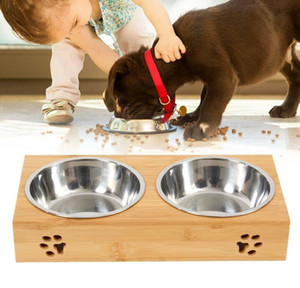 Dog Food Large Feeding Stand Station Stainless Pet Double Bowls Stand bbyyVr xmh_home