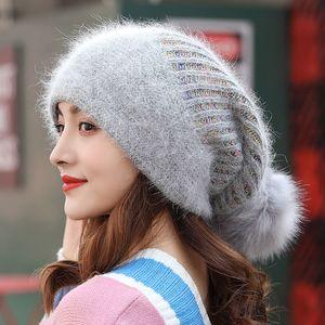 Women Autumn Winter Rabbit Fur Blend Beanie Pompom Fur Knitted Hat Fashion Sweet Warm Earflap Cap Elasric Outdoors Skullcap 201009